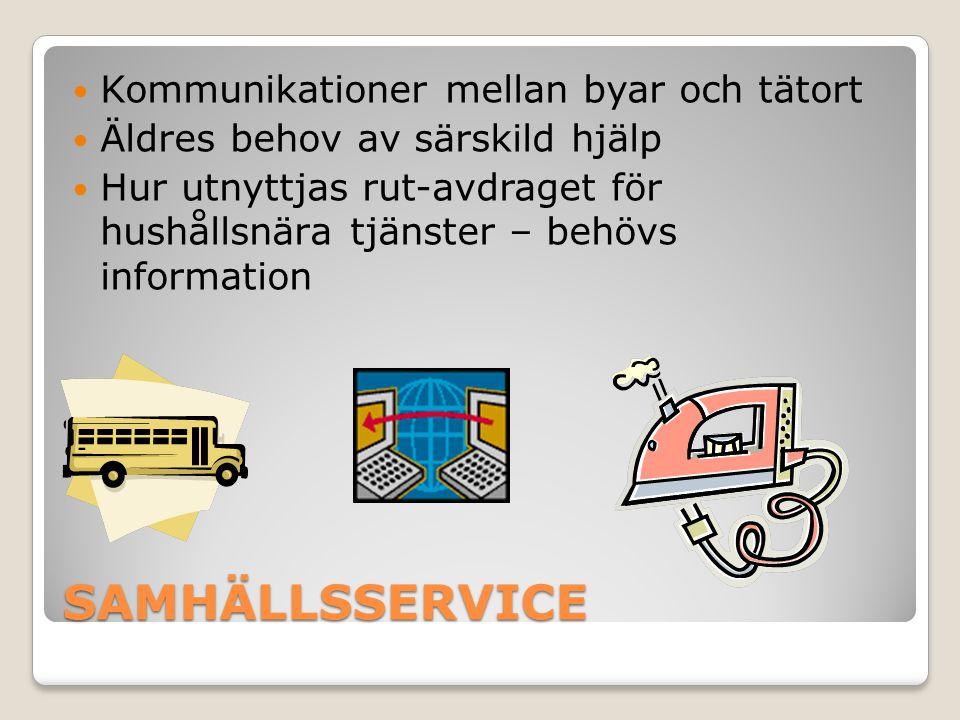 SAMHÄLLSSERVICE Kommunikationer mellan byar och tätort