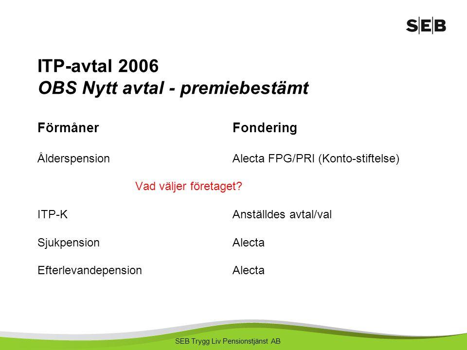 ITP-avtal 2006 OBS Nytt avtal - premiebestämt Förmåner