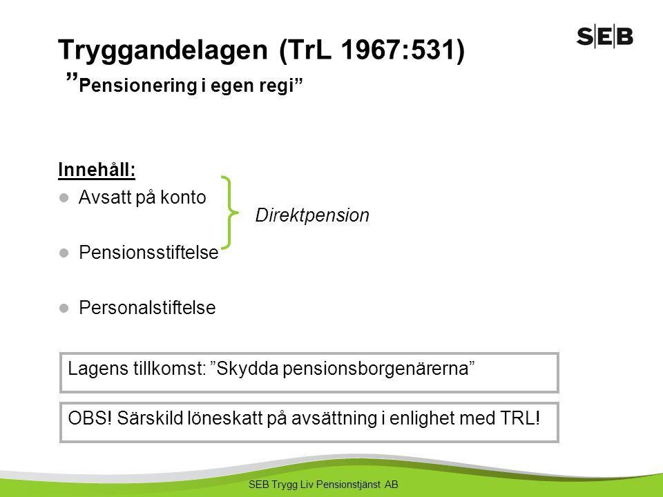 Tryggandelagen (TrL 1967:531) Pensionering i egen regi