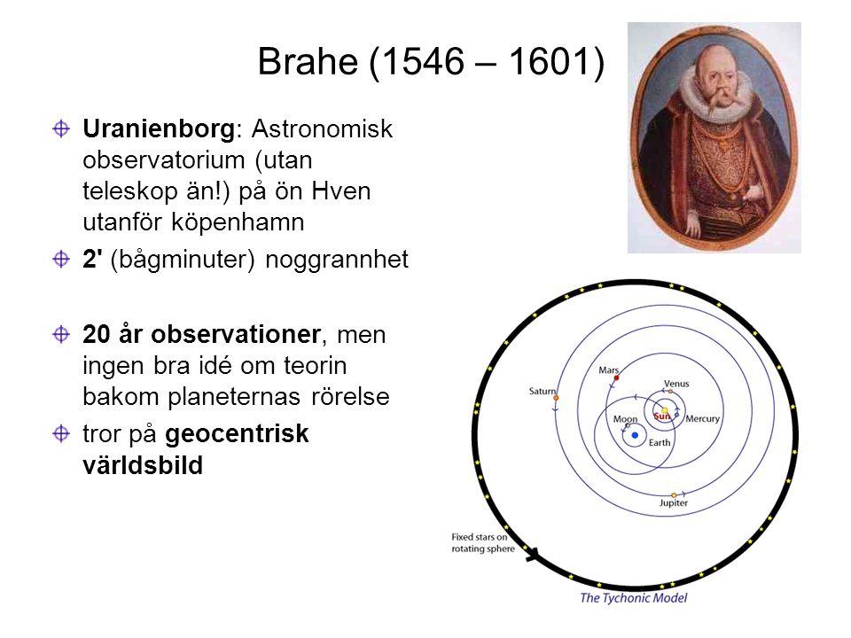 Brahe (1546 – 1601) Uranienborg: Astronomisk observatorium (utan teleskop än!) på ön Hven utanför köpenhamn.