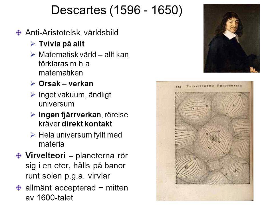Descartes (1596 - 1650) Anti-Aristotelsk världsbild