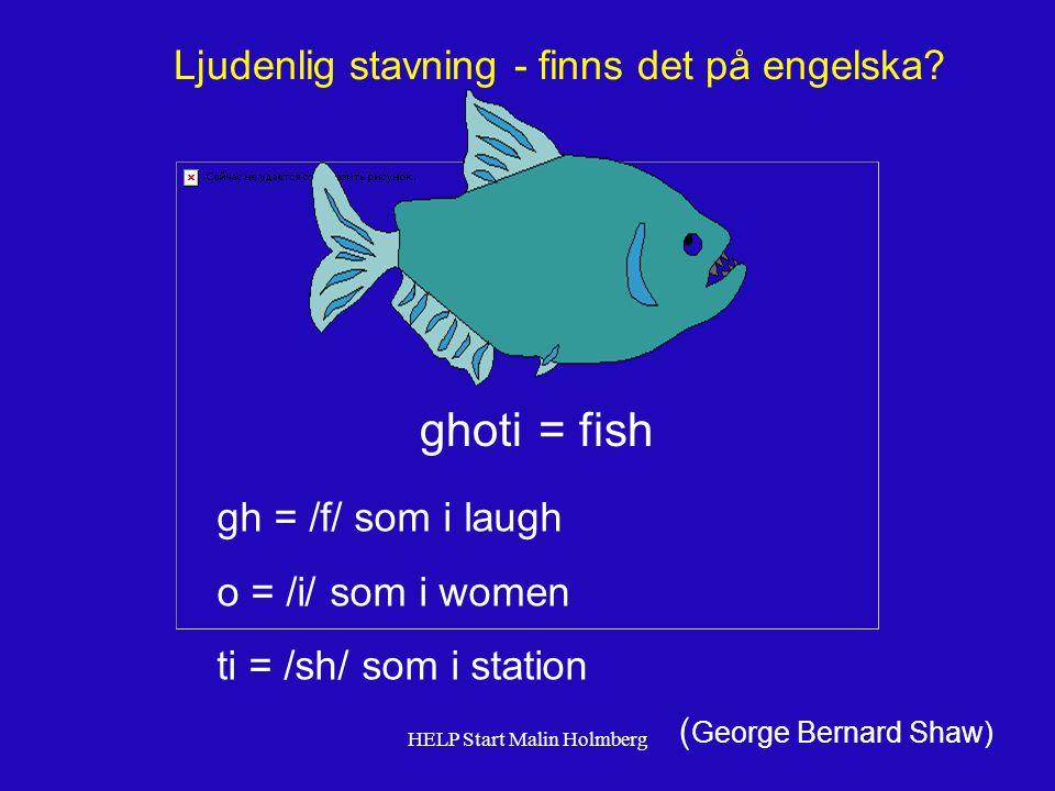 ghoti = fish Ljudenlig stavning - finns det på engelska