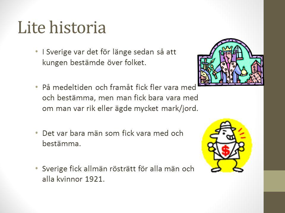 Lite historia I Sverige var det för länge sedan så att kungen bestämde över folket.