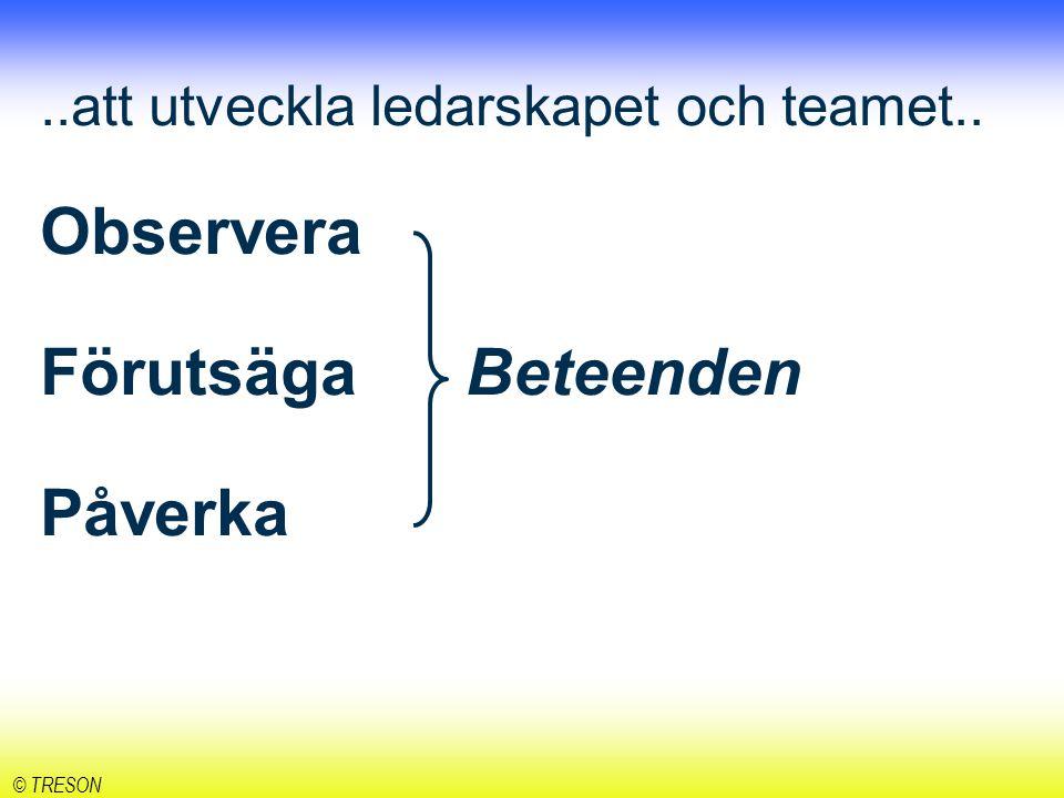 att utveckla ledarskapet och teamet. Observera Förutsäga