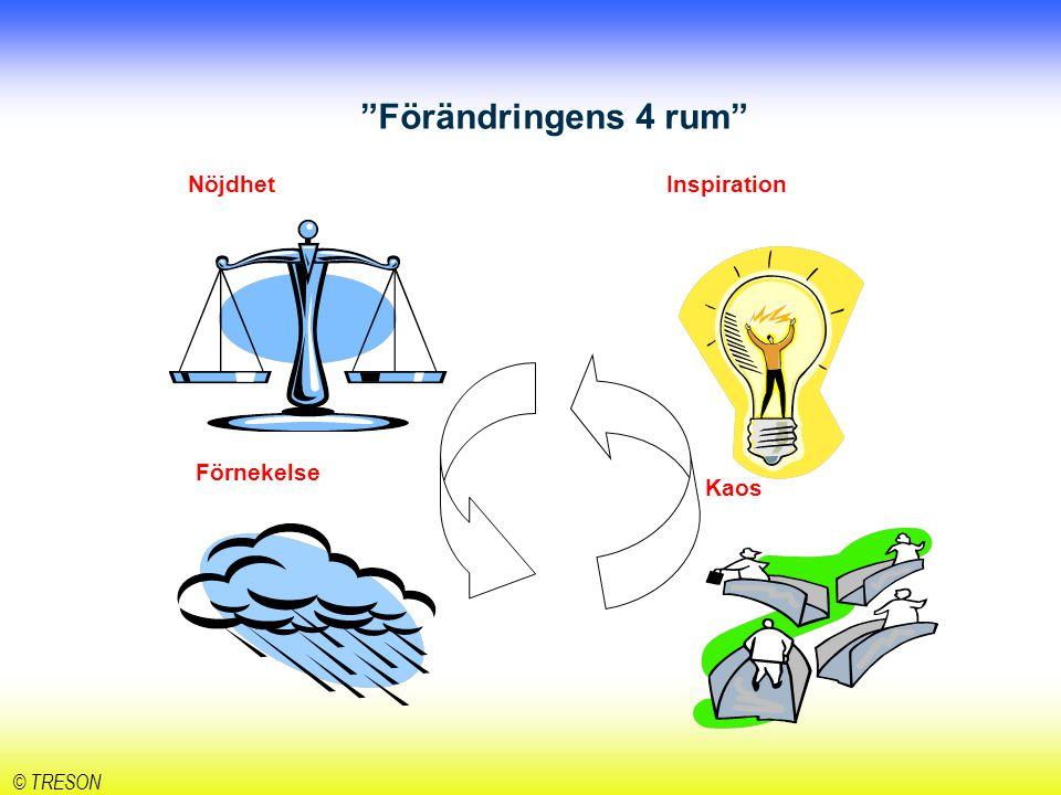 Förändringens 4 rum Nöjdhet Inspiration Kaos Förnekelse © TRESON