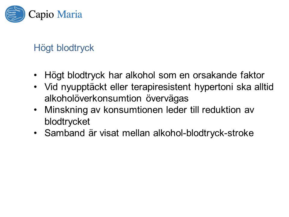 Högt blodtryck Högt blodtryck har alkohol som en orsakande faktor.