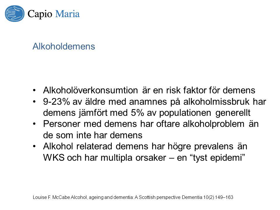 Alkoholöverkonsumtion är en risk faktor för demens