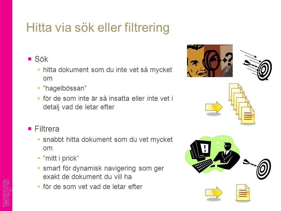 Hitta via sök eller filtrering