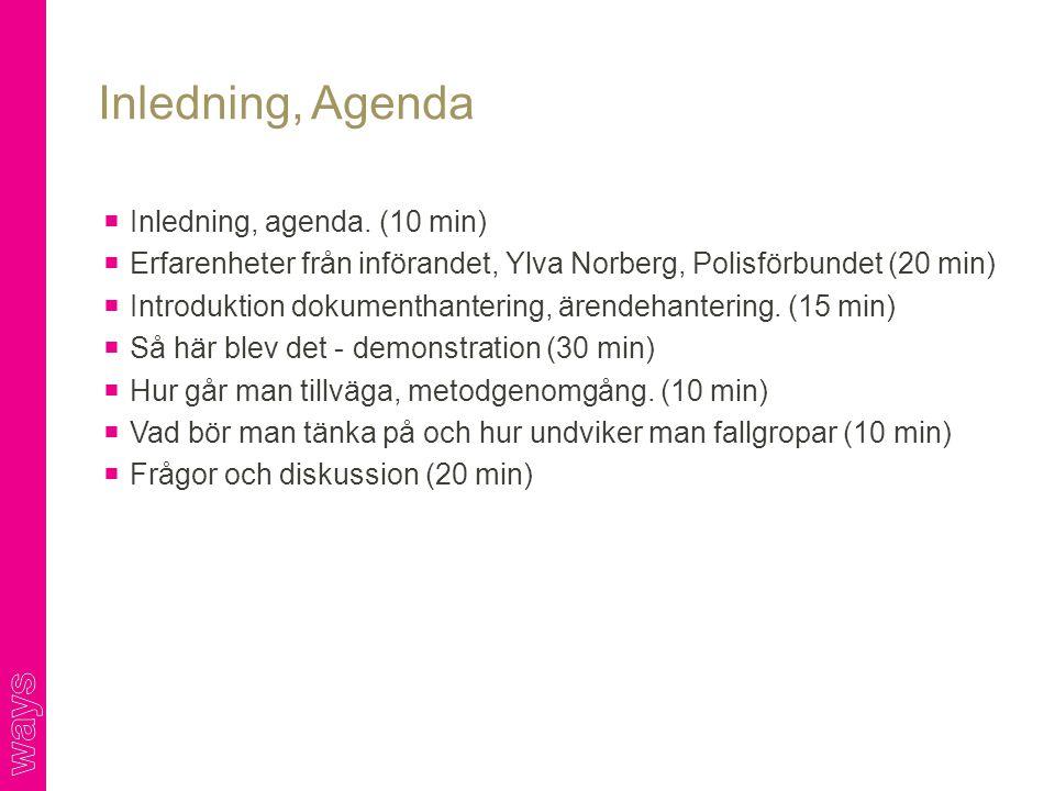 Inledning, Agenda Inledning, agenda. (10 min)