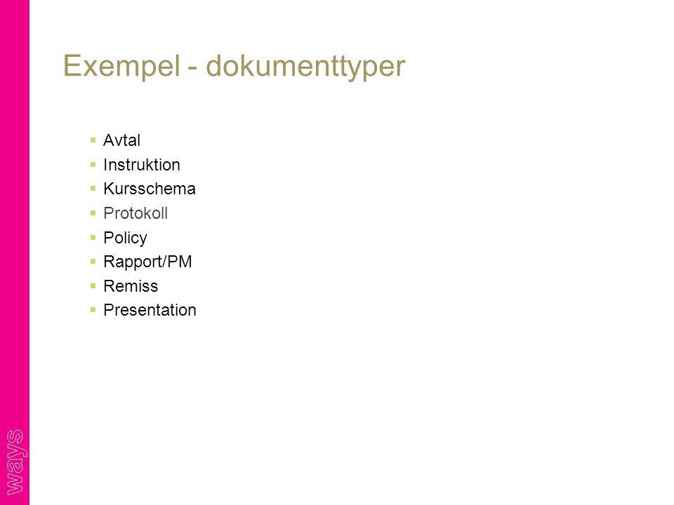 Exempel - dokumenttyper