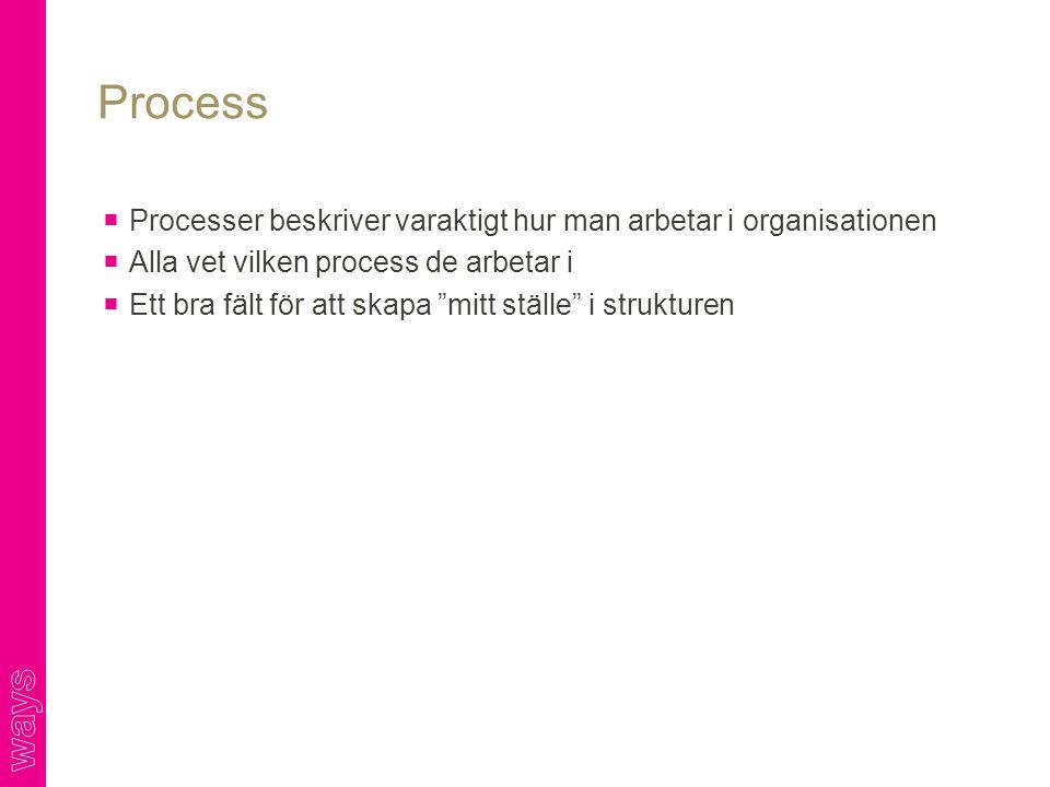 Process Processer beskriver varaktigt hur man arbetar i organisationen