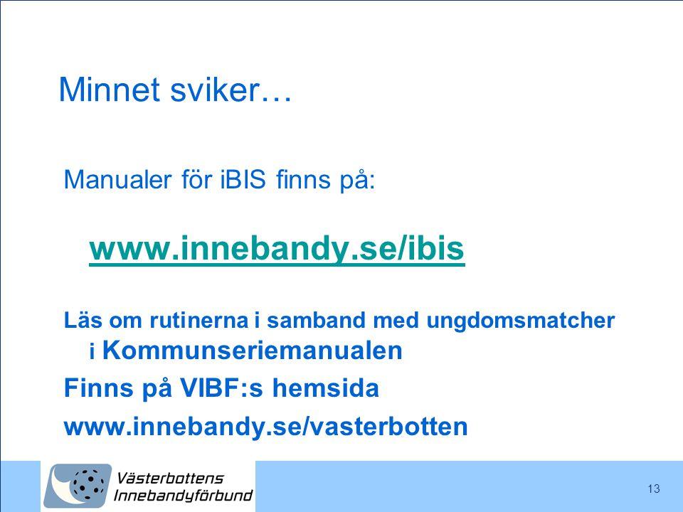 Minnet sviker… Manualer för iBIS finns på: www.innebandy.se/ibis