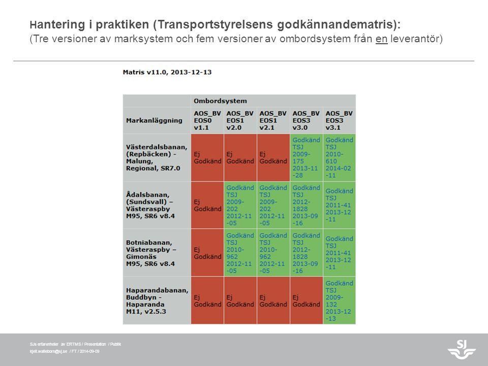 Hantering i praktiken (Transportstyrelsens godkännandematris): (Tre versioner av marksystem och fem versioner av ombordsystem från en leverantör)