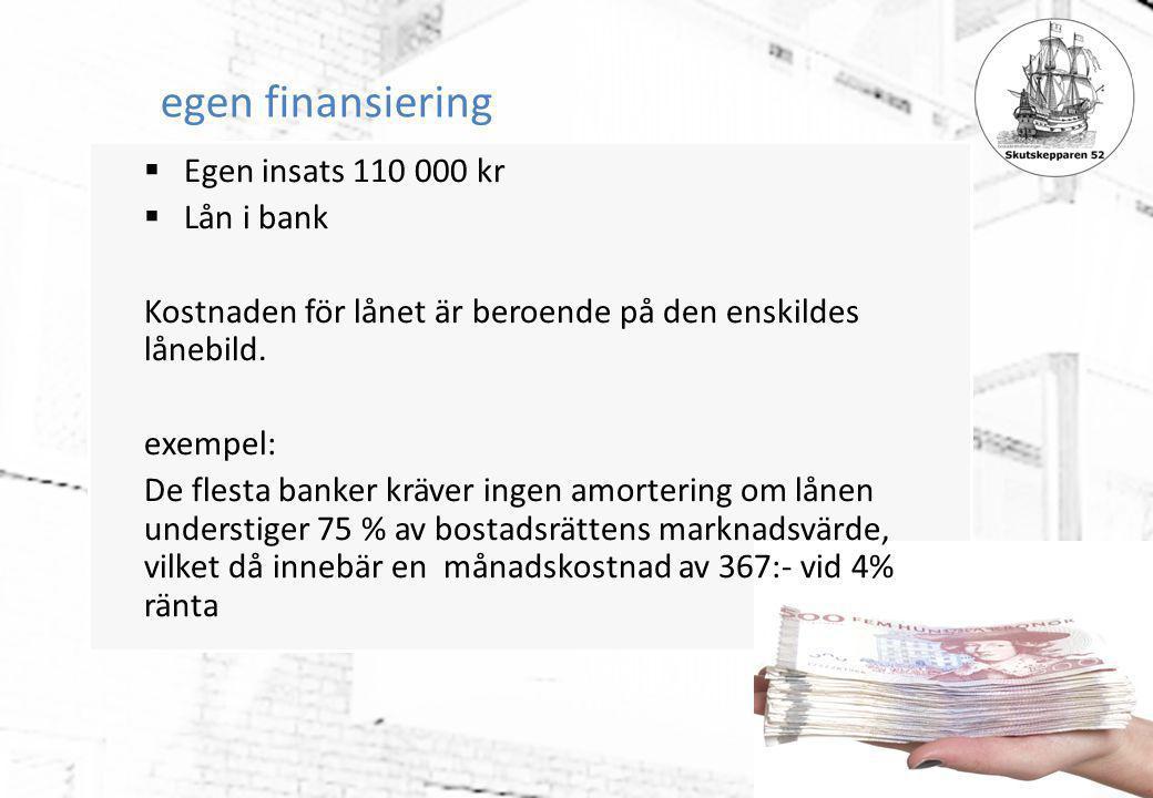 egen finansiering Egen insats 110 000 kr Lån i bank