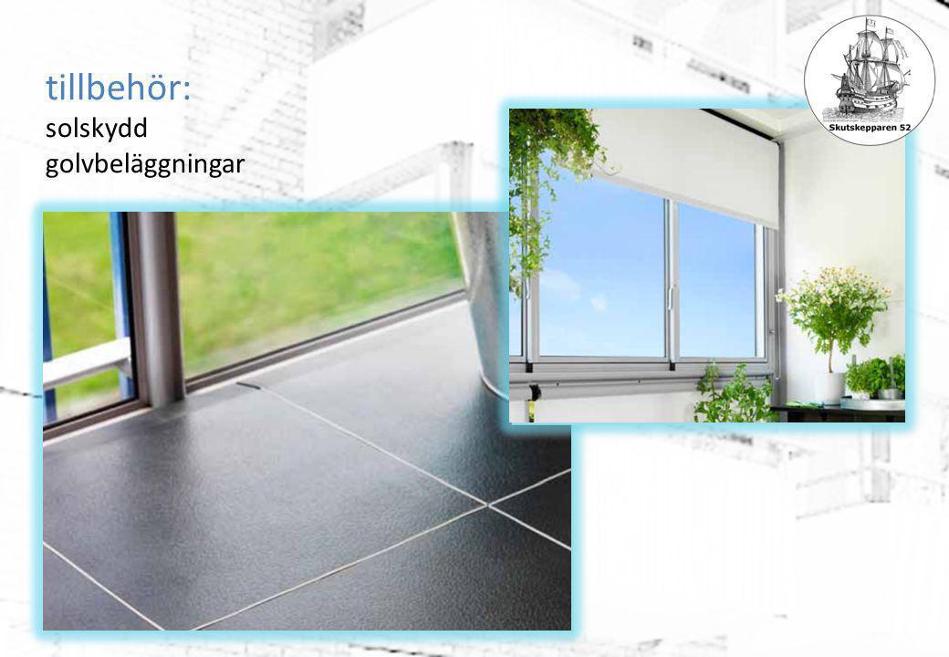 tillbehör: solskydd golvbeläggningar