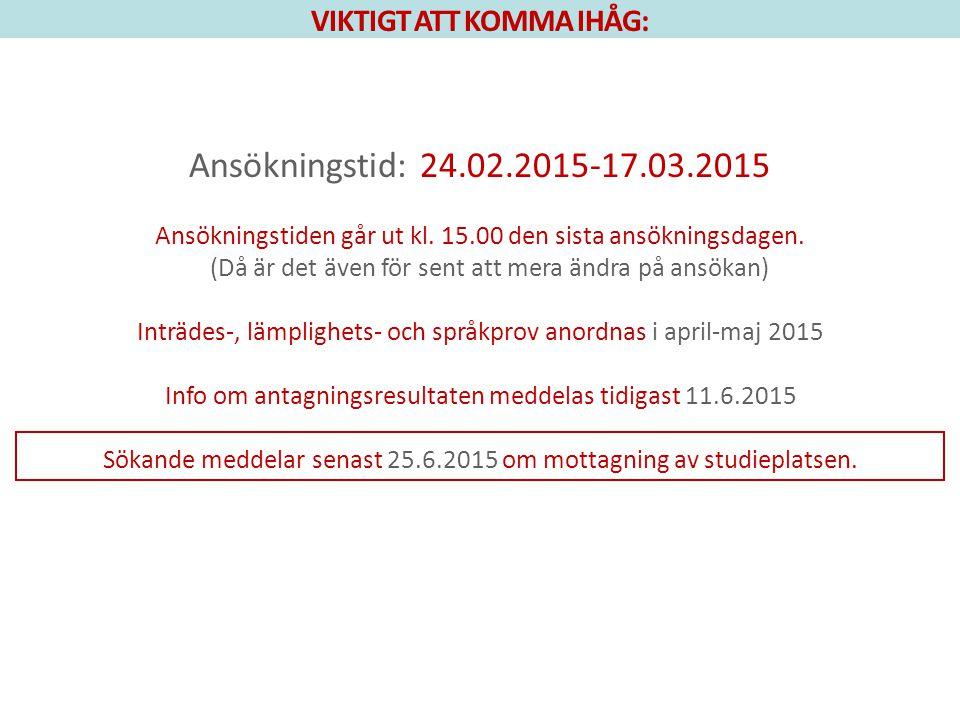 VIKTIGT ATT KOMMA IHÅG: