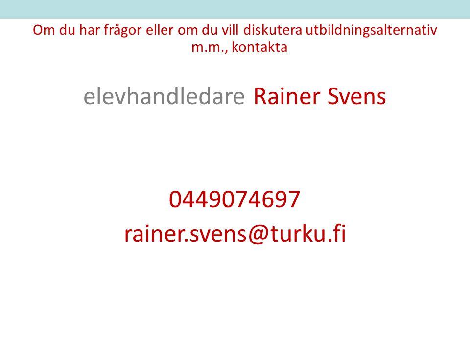 elevhandledare Rainer Svens