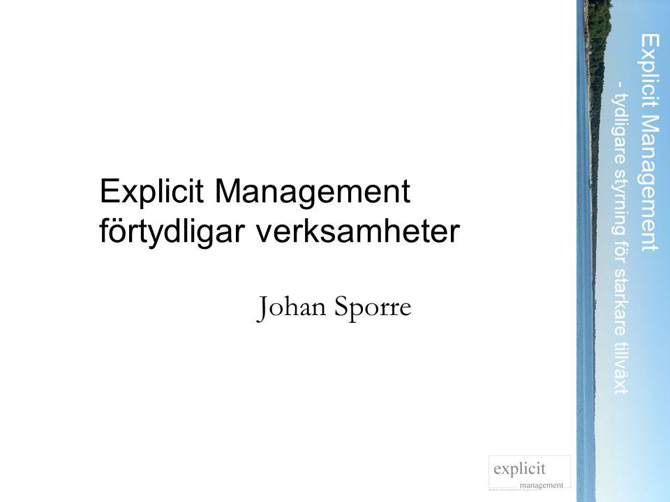Explicit Management förtydligar verksamheter