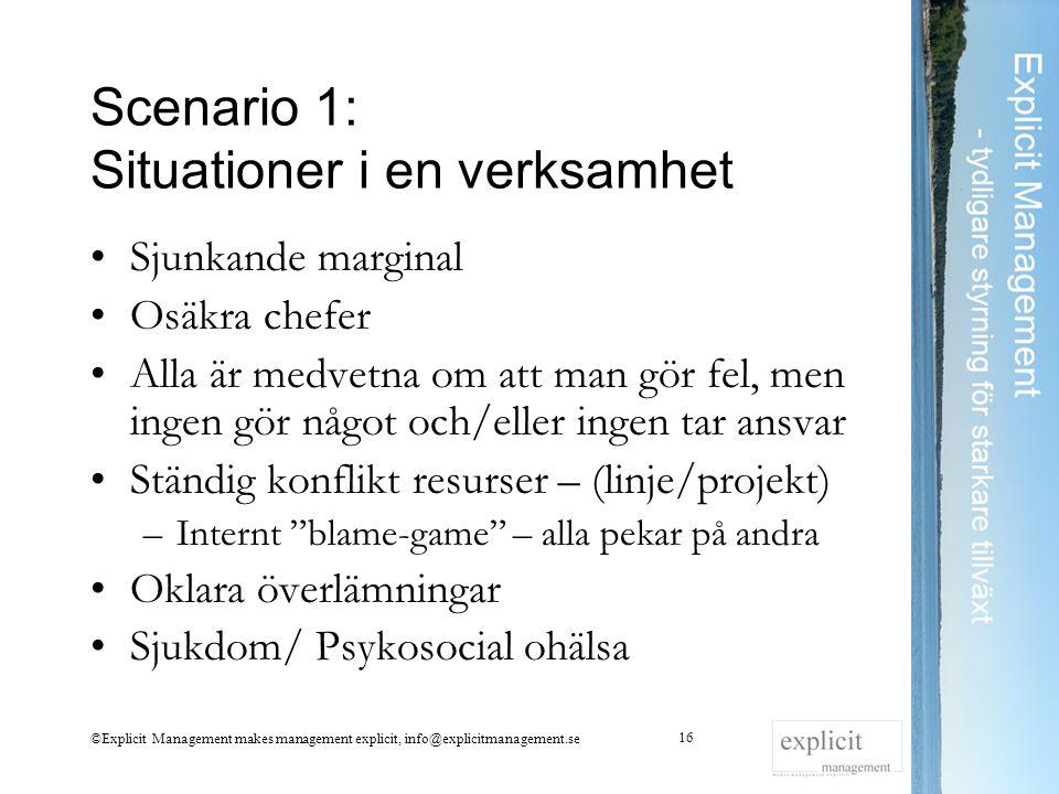Scenario 1: Situationer i en verksamhet