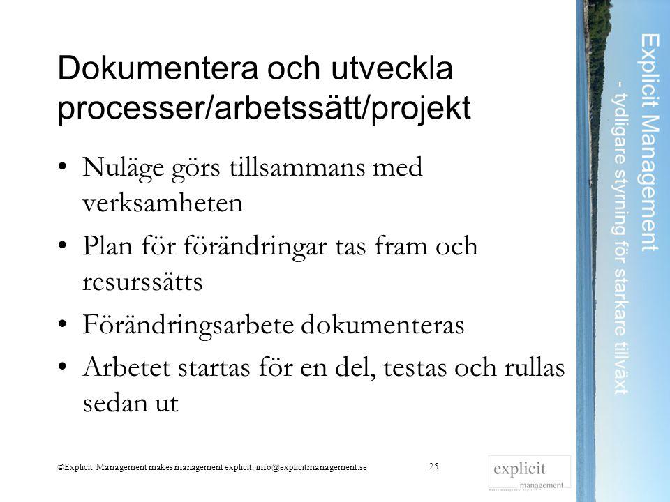 Dokumentera och utveckla processer/arbetssätt/projekt