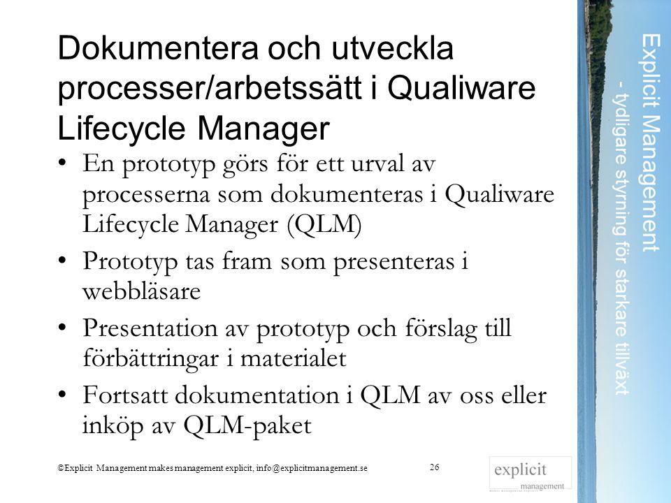 Dokumentera och utveckla processer/arbetssätt i Qualiware Lifecycle Manager