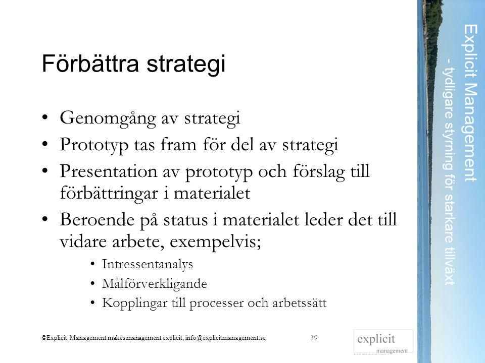 Förbättra strategi Genomgång av strategi