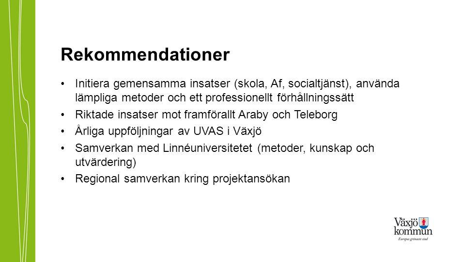 Rekommendationer Initiera gemensamma insatser (skola, Af, socialtjänst), använda lämpliga metoder och ett professionellt förhållningssätt.