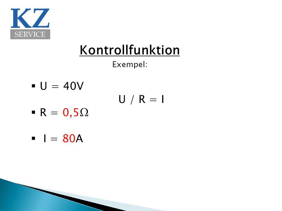 Kontrollfunktion Exempel: U = 40V R = 0,5Ω I = 80A U / R = I