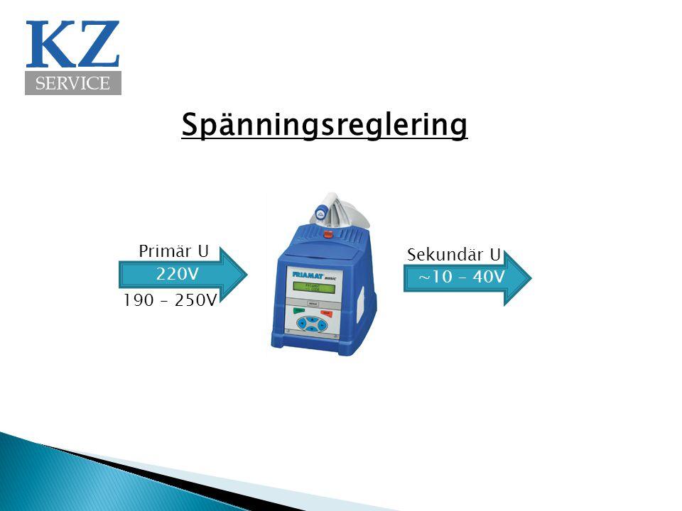 Spänningsreglering Primär U Sekundär U 220V ∼10 – 40V 190 – 250V
