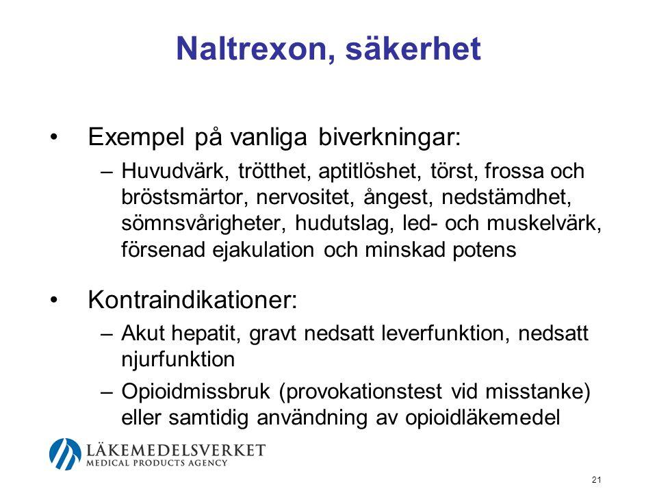 Naltrexon, säkerhet Exempel på vanliga biverkningar: