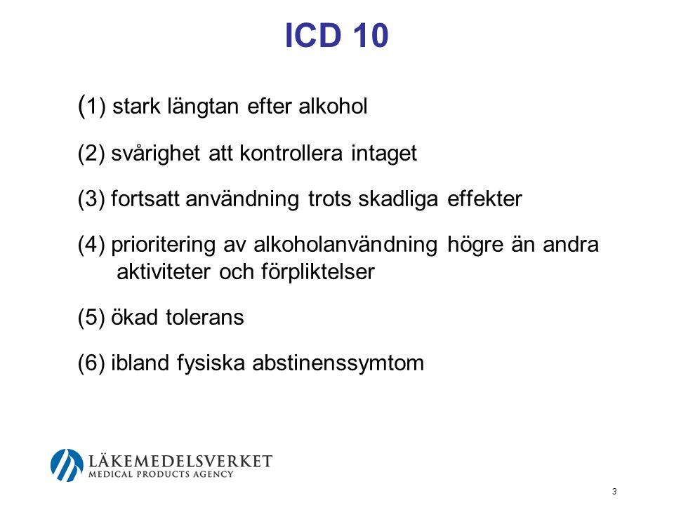 ICD 10 (1) stark längtan efter alkohol