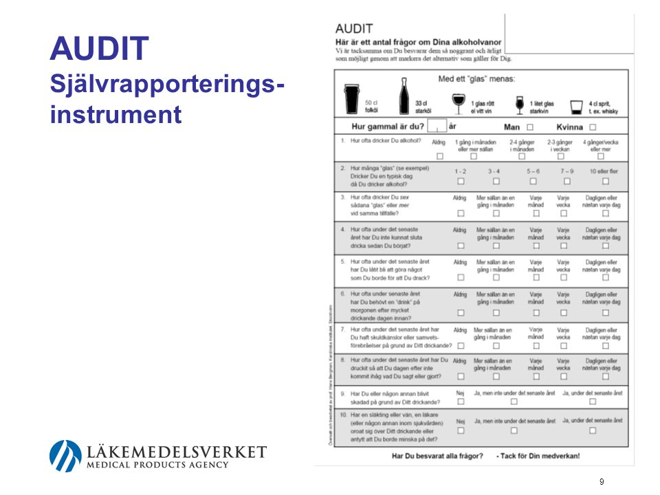AUDIT Självrapporterings-instrument