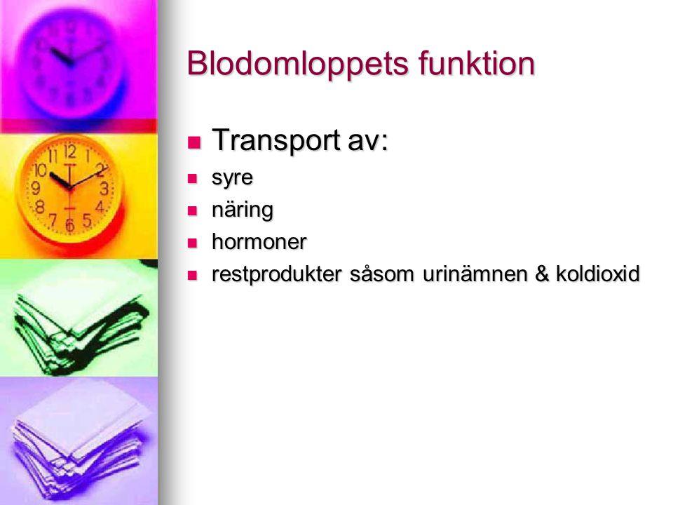 Blodomloppets funktion