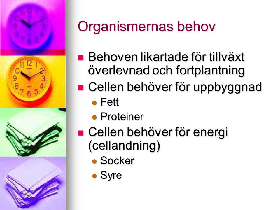 Organismernas behov Behoven likartade för tillväxt överlevnad och fortplantning. Cellen behöver för uppbyggnad.