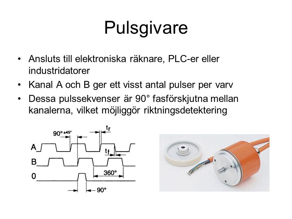 Pulsgivare Ansluts till elektroniska räknare, PLC-er eller industridatorer. Kanal A och B ger ett visst antal pulser per varv.