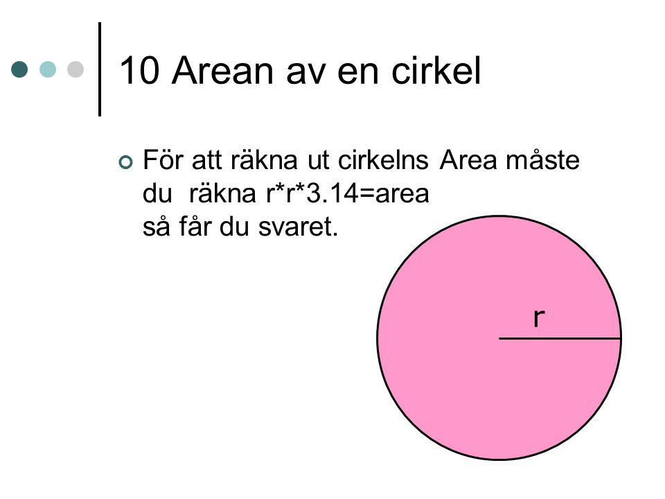 10 Arean av en cirkel För att räkna ut cirkelns Area måste du räkna r*r*3.14=area så får du svaret.