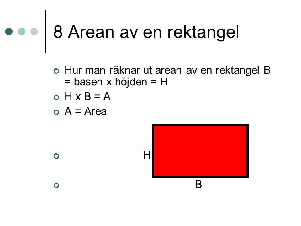 8 Arean av en rektangel Hur man räknar ut arean av en rektangel B = basen x höjden = H. H x B = A.