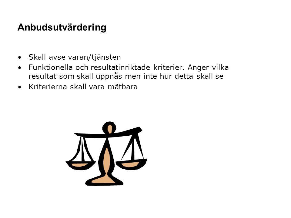 Anbudsutvärdering Skall avse varan/tjänsten