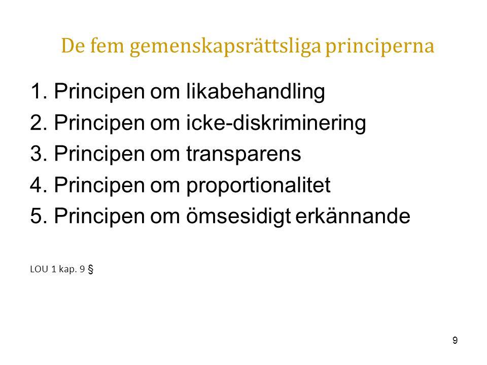 De fem gemenskapsrättsliga principerna