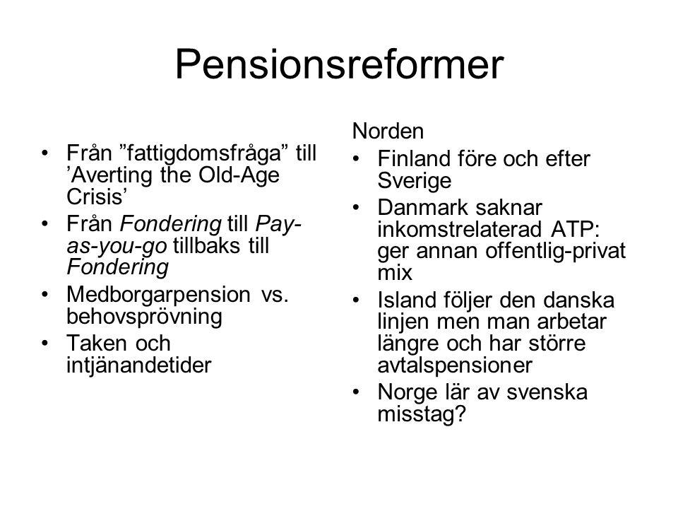 Pensionsreformer Norden