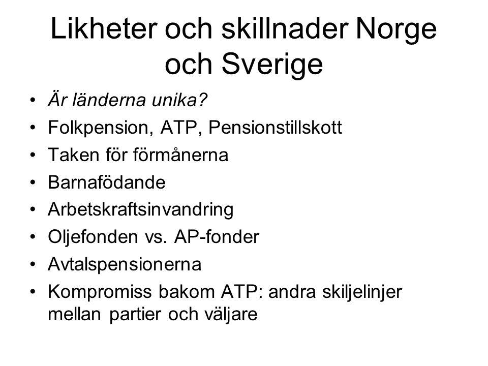 Likheter och skillnader Norge och Sverige
