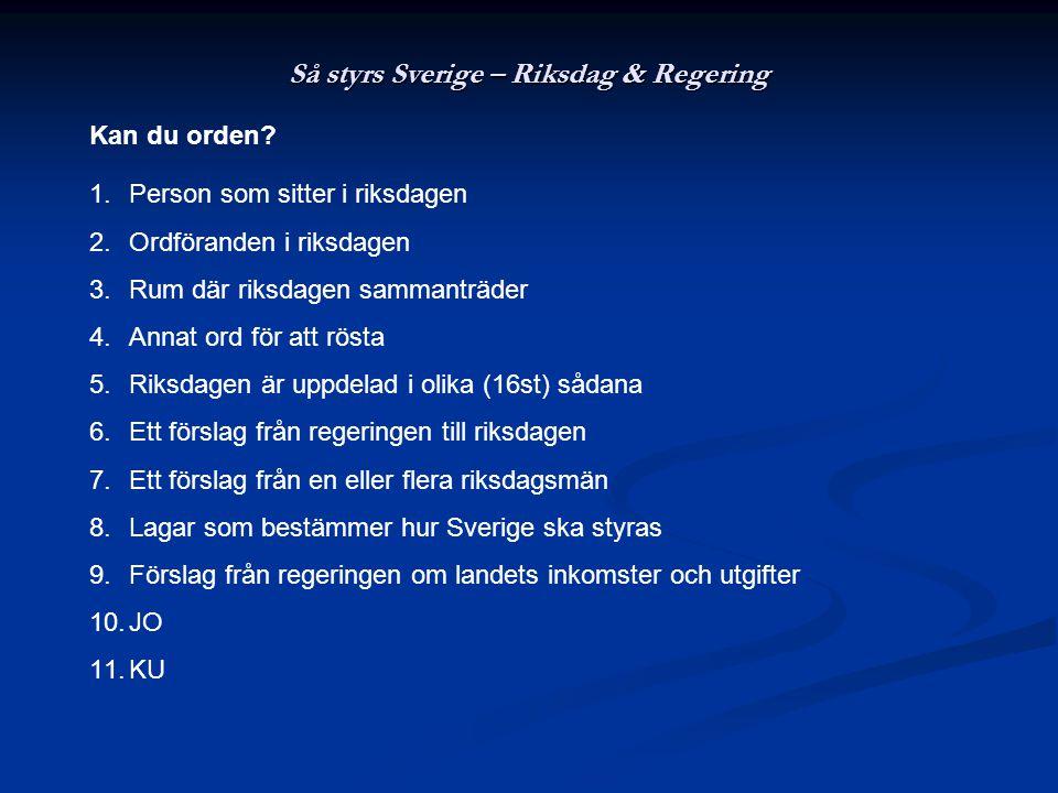 Så styrs Sverige – Riksdag & Regering