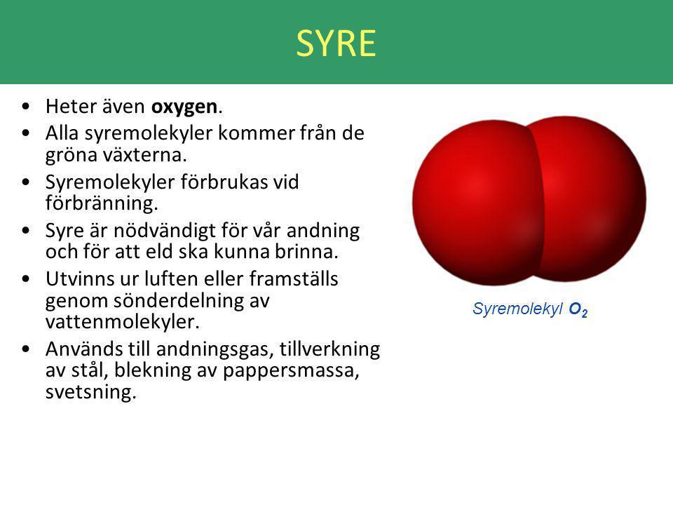 SYRE Heter även oxygen. Alla syremolekyler kommer från de gröna växterna. Syremolekyler förbrukas vid förbränning.