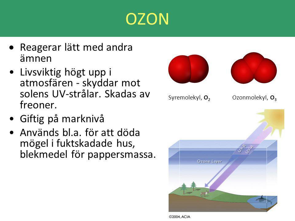 OZON Reagerar lätt med andra ämnen