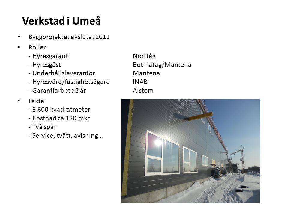 Verkstad i Umeå Byggprojektet avslutat 2011