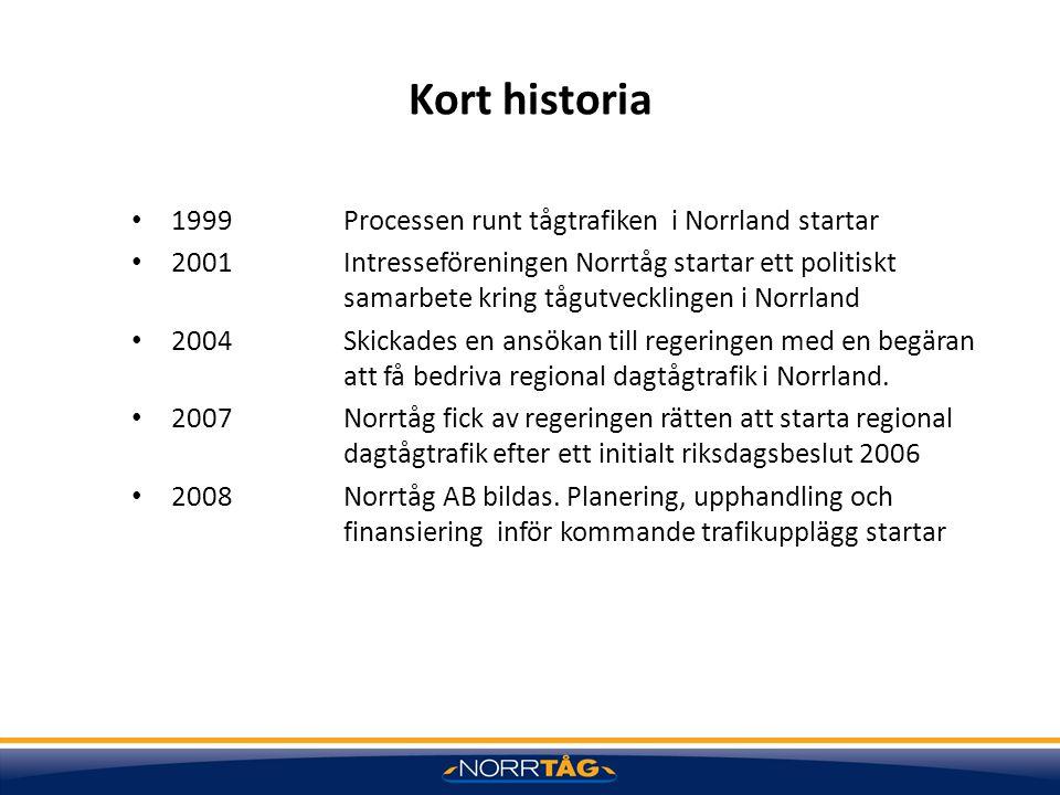 Kort historia 1999 Processen runt tågtrafiken i Norrland startar