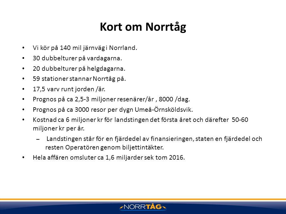 Kort om Norrtåg Vi kör på 140 mil järnväg i Norrland.