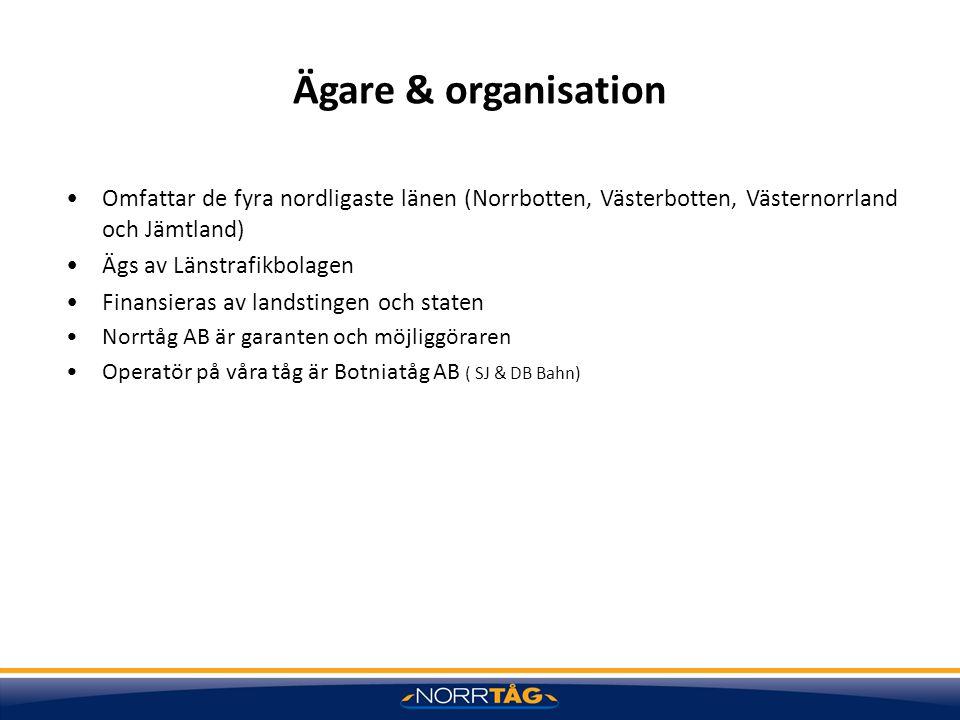 Ägare & organisation Omfattar de fyra nordligaste länen (Norrbotten, Västerbotten, Västernorrland och Jämtland)