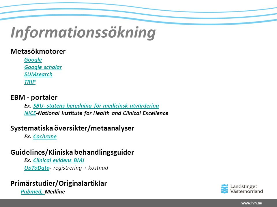 Informationssökning Metasökmotorer EBM - portaler
