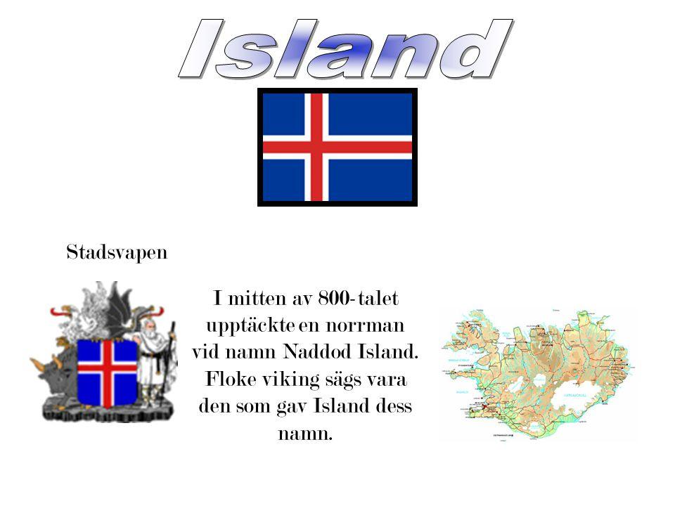 Island Stadsvapen. I mitten av 800-talet upptäckte en norrman vid namn Naddod Island.